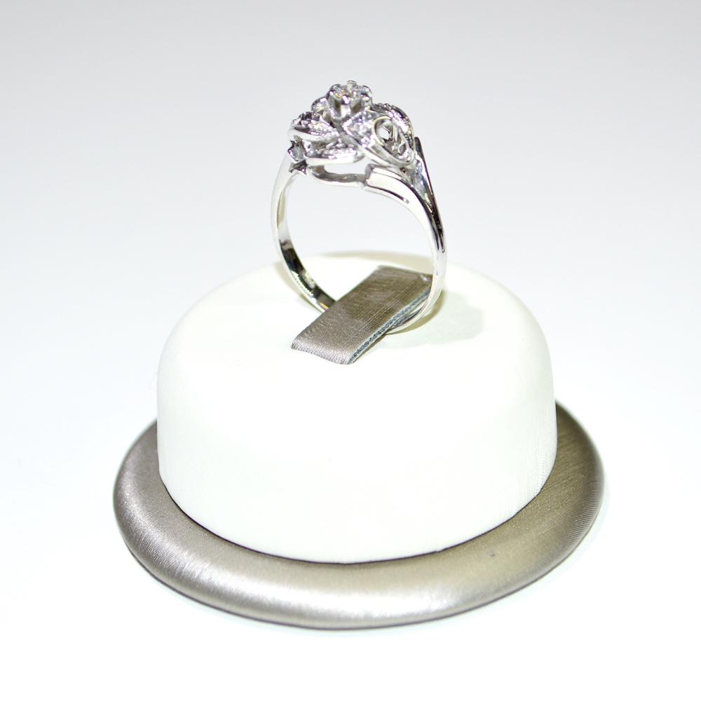 Molto Anello oro bianco 18 kt a forma di Rosa con Diamante - Euroxoro WG72