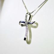 Croce in oro bianco con diamanti 2