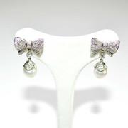Orecchini oro bianco con diamanti e perle