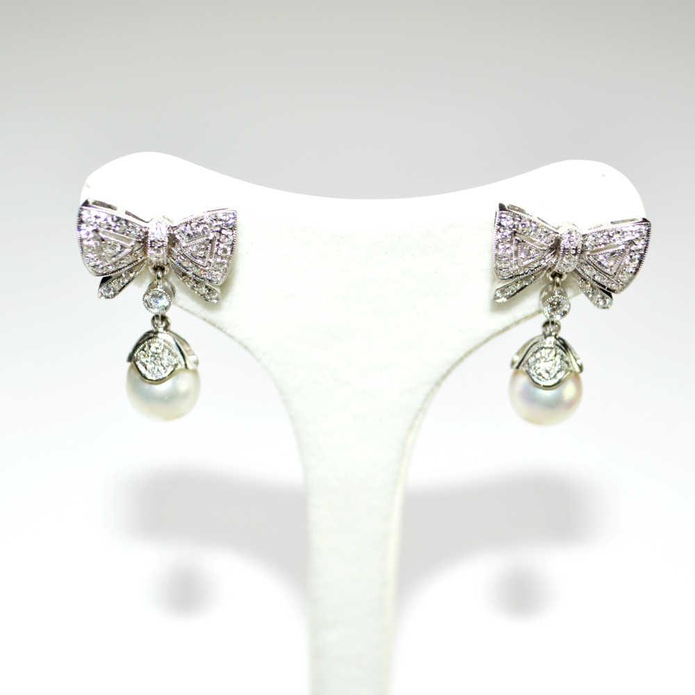 ampia selezione di design la vendita di scarpe 100% genuino Orecchini in oro bianco 18 kt con Diamanti e Perle